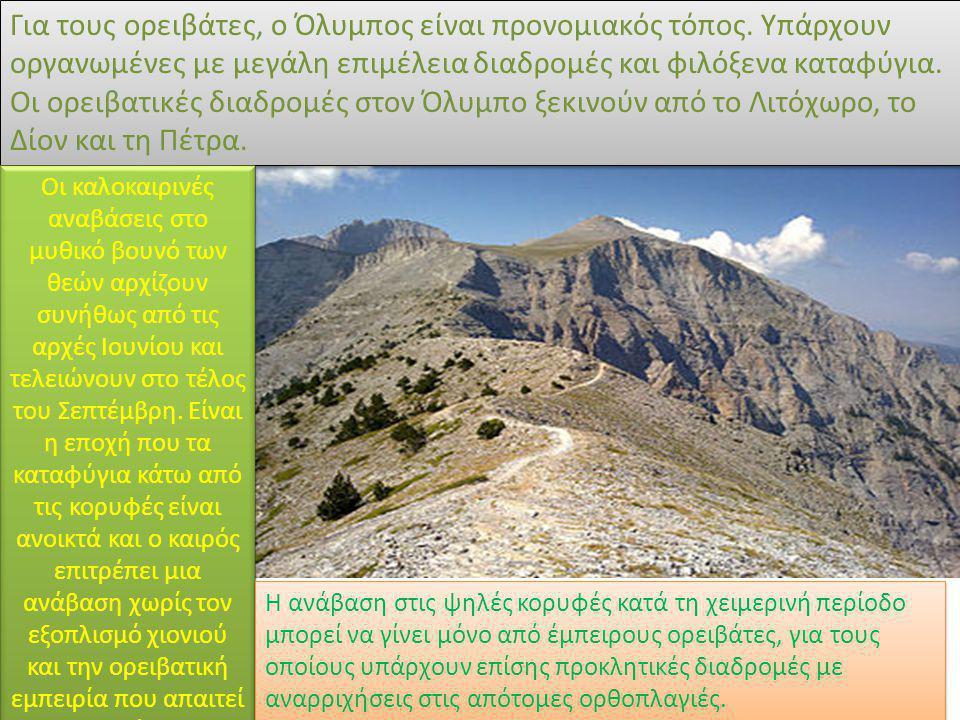 Για τους ορειβάτες, ο Όλυμπος είναι προνομιακός τόπος. Υπάρχουν οργανωμένες με μεγάλη επιμέλεια διαδρομές και φιλόξενα καταφύγια. Οι ορειβατικές διαδρ