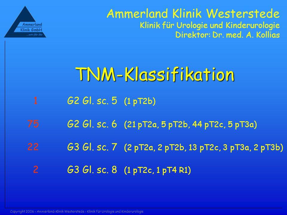 Copyright 2006 - Ammerland-Klinik Westerstede - Klinik für Urologie und Kinderurologie TNM-Klassifikation 1 G2 Gl. sc. 5 (1 pT2b) 75 G2 Gl. sc. 6 (21