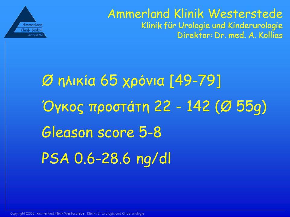 Copyright 2006- Ammerland-Klinik Westerstede - Klinik für Urologie und Kinderurologie Ø ηλικία 65 χρόνια [49-79] Όγκος προστάτη 22 - 142 (Ø 55g) Gleas