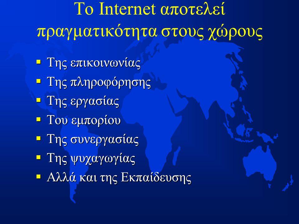 Το Internet αποτελεί πραγματικότητα στους χώρους  Της επικοινωνίας  Της πληροφόρησης  Της εργασίας  Του εμπορίου  Της συνεργασίας  Της ψυχαγωγίας  Αλλά και της Εκπαίδευσης