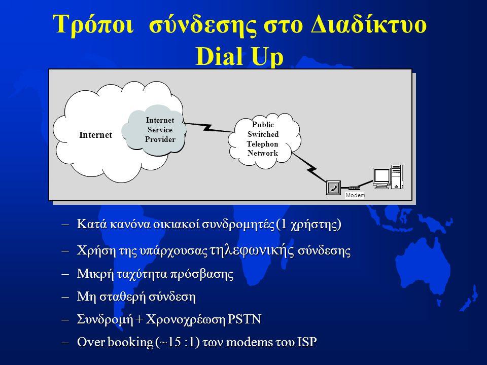 Τρόποι σύνδεσης στο Διαδίκτυο Dial Up –Κατά κανόνα οικιακοί συνδρομητές (1 χρήστης) –Χρήση της υπάρχουσας τηλεφωνικής σύνδεσης –Μικρή ταχύτητα πρόσβασης –Μη σταθερή σύνδεση –Συνδρομή + Χρονοχρέωση PSTN –Over booking (~15 :1) των modems του ISP Modem Internet Service Provider Public Switched Telephon Network Internet