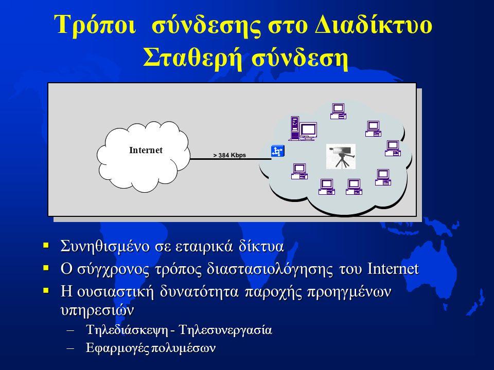 Συνηθισμένο σε εταιρικά δίκτυα  Ο σύγχρονος τρόπος διαστασιολόγησης του Internet  Η ουσιαστική δυνατότητα παροχής προηγμένων υπηρεσιών – Τηλεδιάσκεψη - Τηλεσυνεργασία – Εφαρμογές πολυμέσων > 384 Kbps Internet Τρόποι σύνδεσης στο Διαδίκτυο Σταθερή σύνδεση