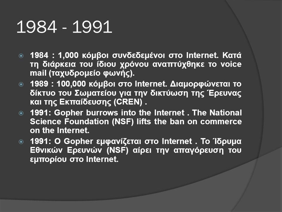 1984 - 1991  1984 : 1,000 κόμβοι συνδεδεμένοι στο Internet.
