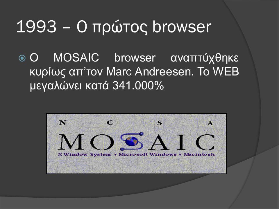 1993 – Ο πρώτος browser  Ο MOSAIC browser αναπτύχθηκε κυρίως απ'τον Marc Andreesen.