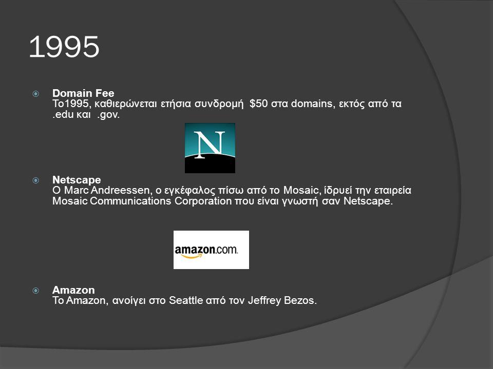 1995  Domain Fee Το1995, καθιερώνεται ετήσια συνδρομή $50 στα domains, εκτός από τα.edu και.gov.
