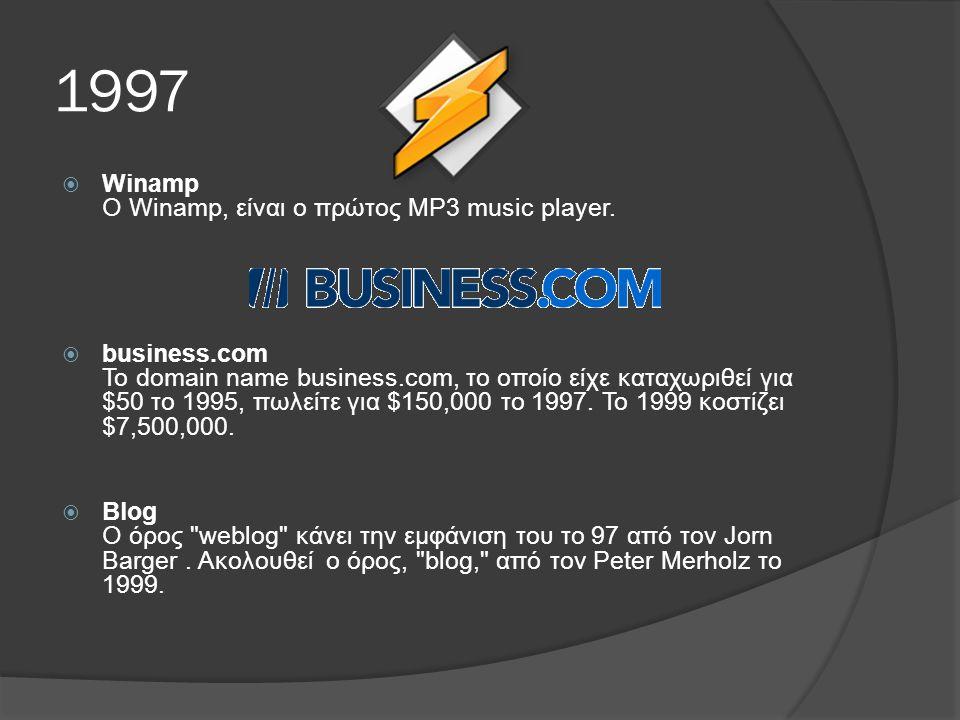 1997  Winamp Ο Winamp, είναι ο πρώτος MP3 music player.
