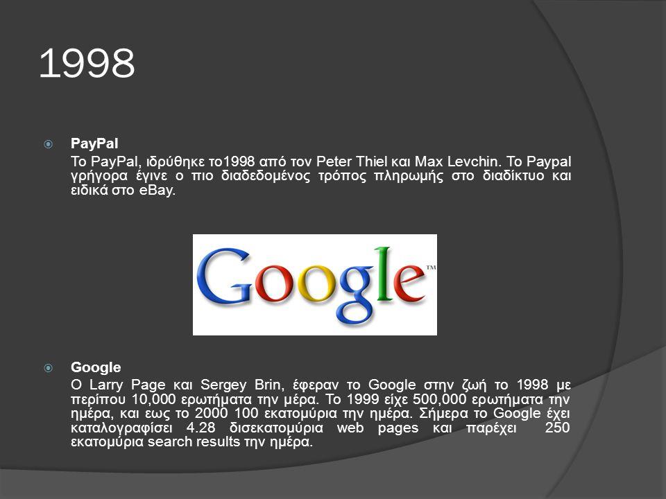 1998  PayPal Το PayPal, ιδρύθηκε το1998 από τον Peter Thiel και Max Levchin.