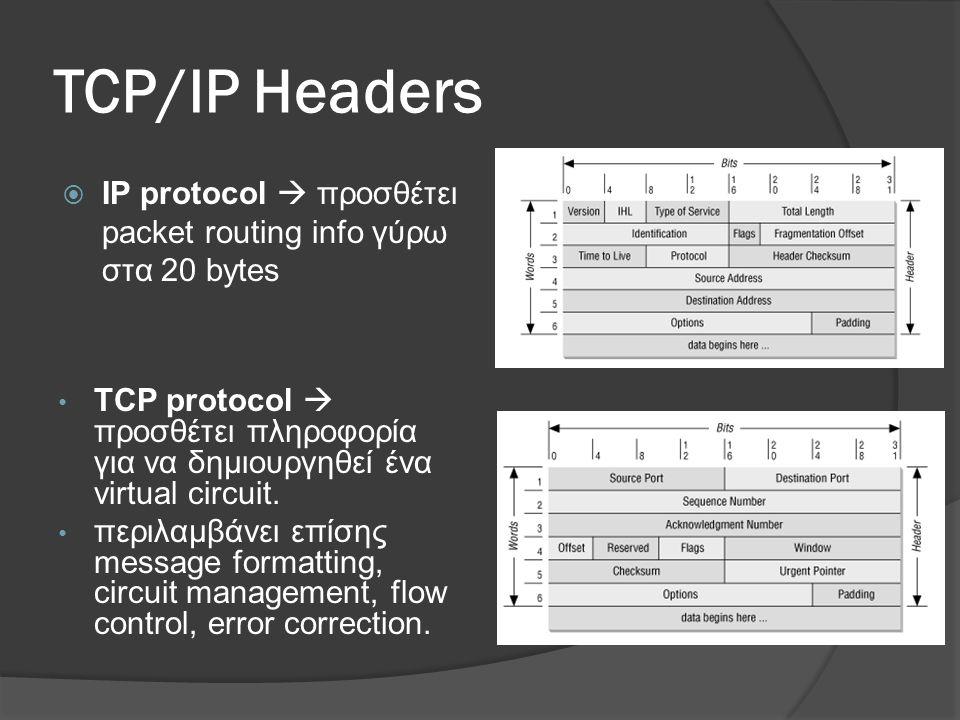 TCP/IP Headers  IP protocol  προσθέτει packet routing info γύρω στα 20 bytes • TCP protocol  προσθέτει πληροφορία για να δημιουργηθεί ένα virtual circuit.