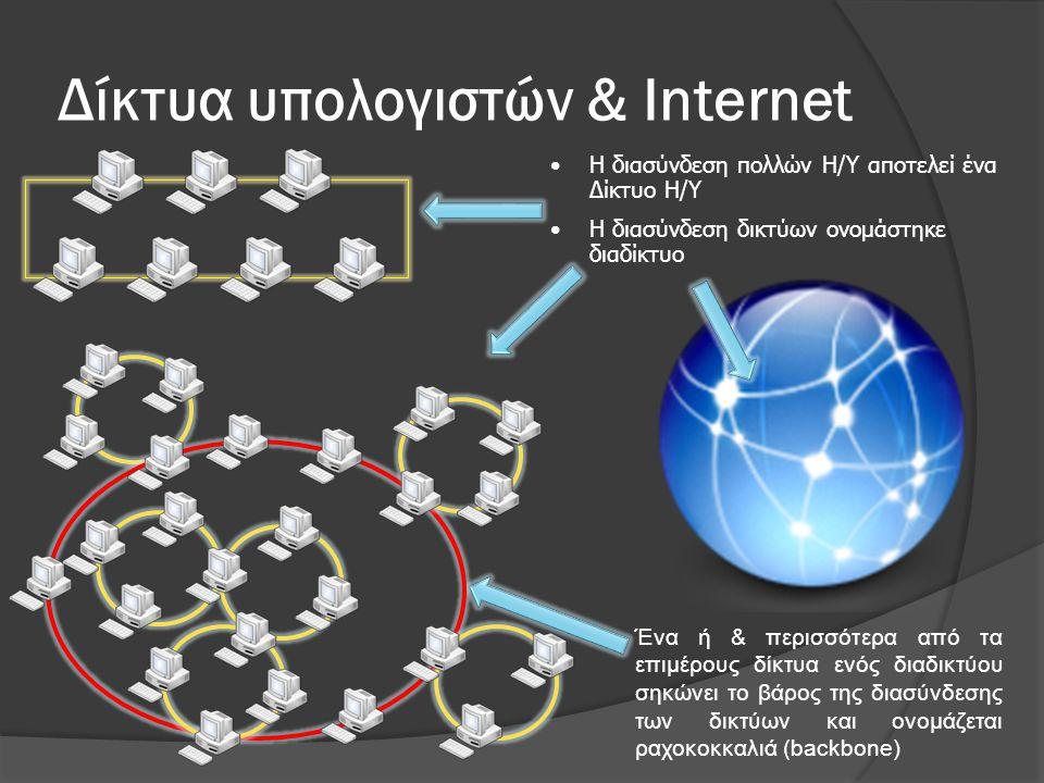 WWW & Internet  Web ≠ Internet  Internet : ένα φυσικό δίκτυο που ενώνει εκατομμύρια υπολογιστές που χρησιμοποιούν τα ίδια πρωτόκολλα για διαμοίραση και μετάδοση πληροφορίας (TCP/IP) ○ ένα δίκτυο από μικρότερα δίκτυα  World Wide Web : μια συλλογή από διασυνδεδεμένα «πολυμεσικά» έγγραφα που είναι αποθηκευμένα στο Internet & μπορεί κανείς να τα προσπελάσει χρησιμοποιώντας ένα κοινό πρωτόκολλο (HTTP)  To Internet είναι hardware ενώ το Web είναι software  υπάρχουν πολλές άλλες εφαρμογές που στηρίζονται στο Internet  email, ftp, telnet, chat, news, κ.λπ.