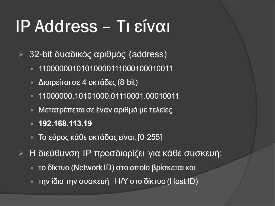 IP Address – Τι είναι  32-bit δυαδικός αριθμός (address)  11000000101010000111000100010011  Διαιρείται σε 4 οκτάδες (8-bit)  11000000.10101000.01110001.00010011  Μετατρέπεται σε έναν αριθμό με τελείες  192.168.113.19  Το εύρος κάθε οκτάδας είναι: [0-255]  Η διεύθυνση IP προσδιορίζει για κάθε συσκευή:  το δίκτυο (Network ID) στο οποίο βρίσκεται και  την ίδια την συσκευή - Η/Υ στο δίκτυο (Host ID)
