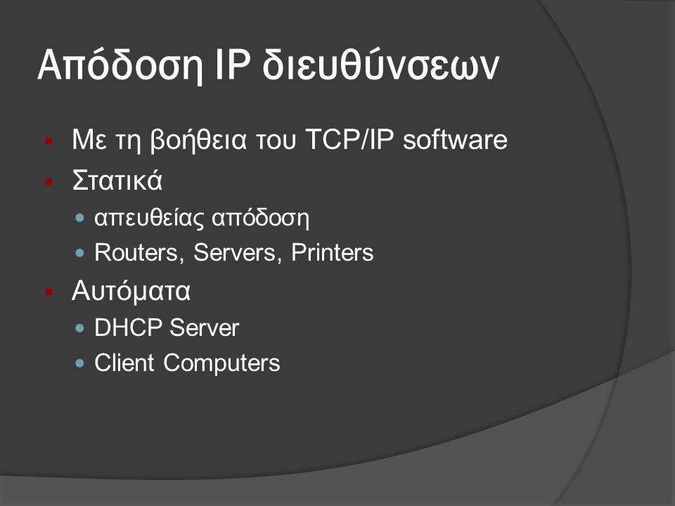 Απόδοση IP διευθύνσεων  Με τη βοήθεια του TCP/IP software  Στατικά  απευθείας απόδοση  Routers, Servers, Printers  Αυτόματα  DHCP Server  Client Computers