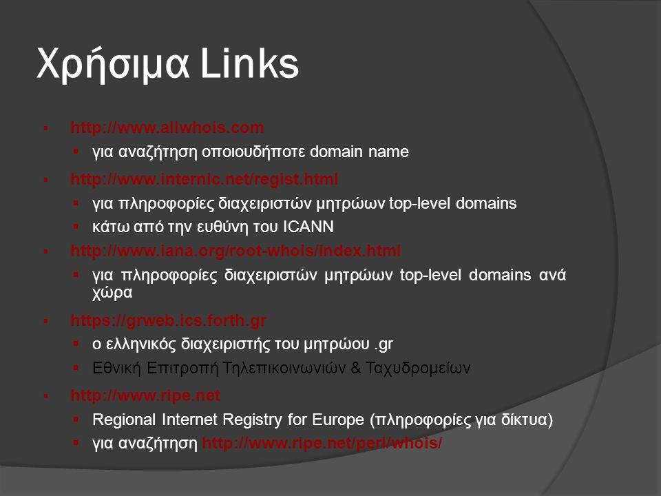Χρήσιμα Links  http://www.allwhois.com  για αναζήτηση οποιουδήποτε domain name  http://www.internic.net/regist.html  για πληροφορίες διαχειριστών μητρώων top-level domains  κάτω από την ευθύνη του ICANN  http://www.iana.org/root-whois/index.html  για πληροφορίες διαχειριστών μητρώων top-level domains ανά χώρα  https://grweb.ics.forth.gr  ο ελληνικός διαχειριστής του μητρώου.gr  Εθνική Επιτροπή Τηλεπικοινωνιών & Ταχυδρομείων  http://www.ripe.net  Regional Internet Registry for Europe (πληροφορίες για δίκτυα)  για αναζήτηση http://www.ripe.net/perl/whois/