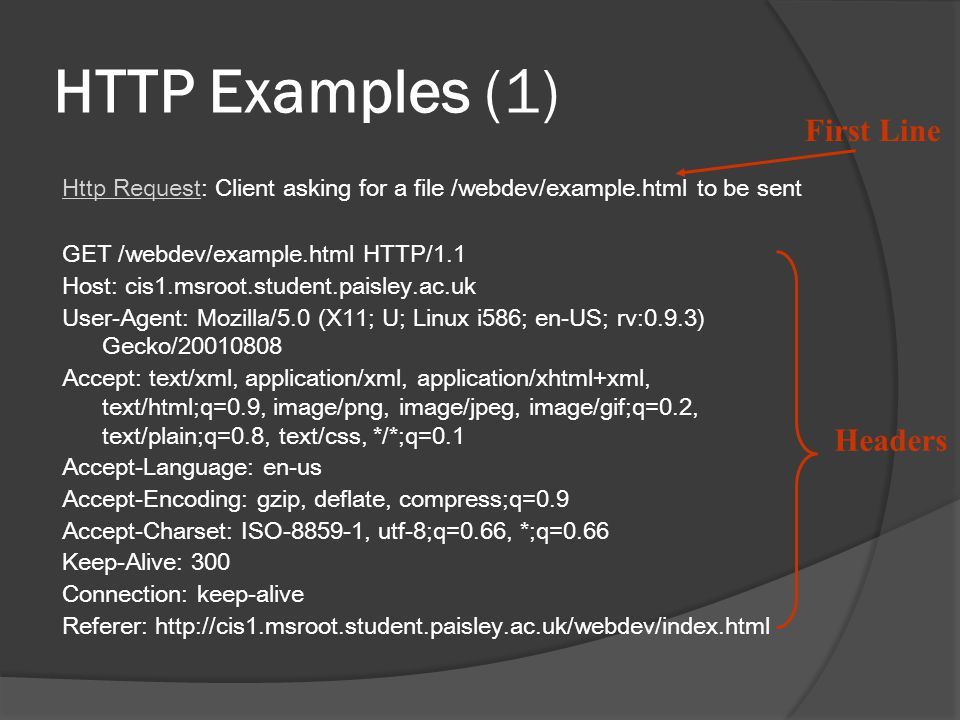 HTTP Examples (1) Http Request: Client asking for a file /webdev/example.html to be sent GET /webdev/example.html HTTP/1.1 Host: cis1.msroot.student.p
