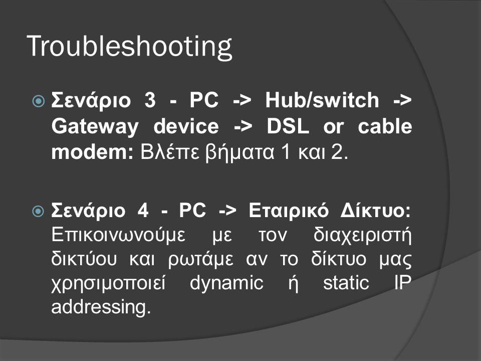 Troubleshooting  Σενάριο 3 - PC -> Hub/switch -> Gateway device -> DSL or cable modem: Βλέπε βήματα 1 και 2.