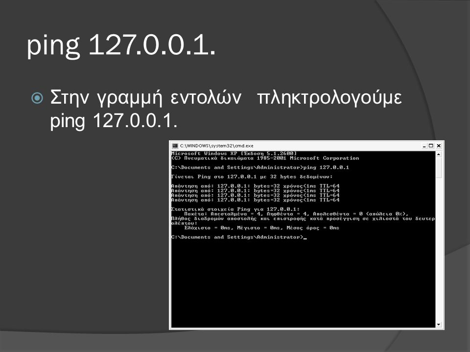 ping 127.0.0.1.  Στην γραμμή εντολών πληκτρολογούμε ping 127.0.0.1.