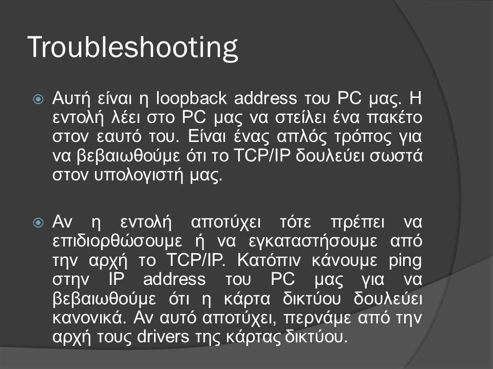 Troubleshooting  Αυτή είναι η loopback address του PC μας.
