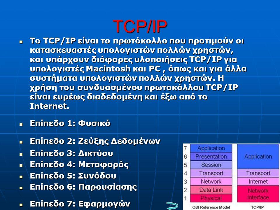 TCP/IP  Tο TCP/IP είναι το πρωτόκολλο που προτιμούν οι κατασκευαστές υπολογιστών πολλών χρηστών, και υπάρχουν διάφορες υλοποιήσεις ΤCP/IP για υπολογι