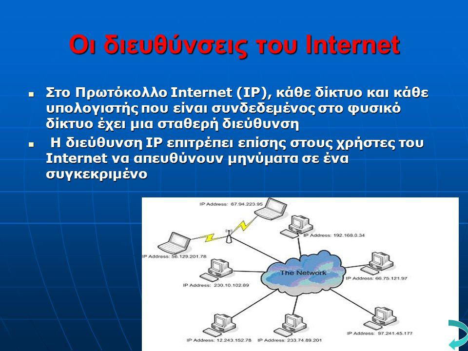 Οι διευθύνσεις του Internet  Στο Πρωτόκολλο Internet (IP), κάθε δίκτυο και κάθε υπολογιστής που είναι συνδεδεμένος στο φυσικό δίκτυο έχει μια σταθερή