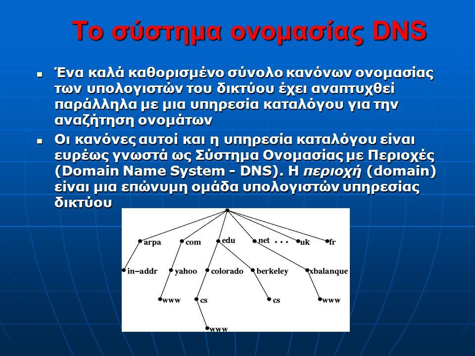 Το σύστημα ονομασίας DNS  Ένα καλά καθορισμένο σύνολο κανόνων ονομασίας των υπολογιστών του δικτύου έχει αναπτυχθεί παράλληλα με μια υπηρεσία καταλόγ