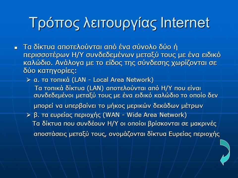 Τρόπος λειτουργίας Internet  Τα δίκτυα αποτελούνται από ένα σύνολο δύο ή περισσοτέρων Η/Υ συνδεδεμένων μεταξύ τους με ένα ειδικό καλώδιο. Ανάλογα με