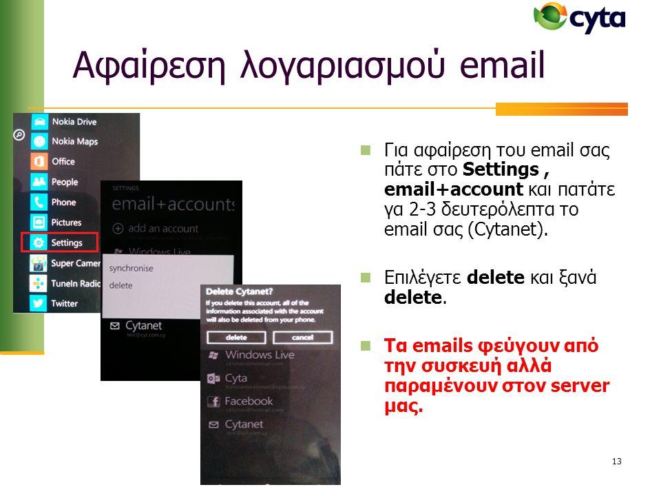 Αφαίρεση λογαριασμού email  Για αφαίρεση του email σας πάτε στο Settings, email+account και πατάτε γα 2-3 δευτερόλεπτα το email σας (Cytanet).  Επιλ