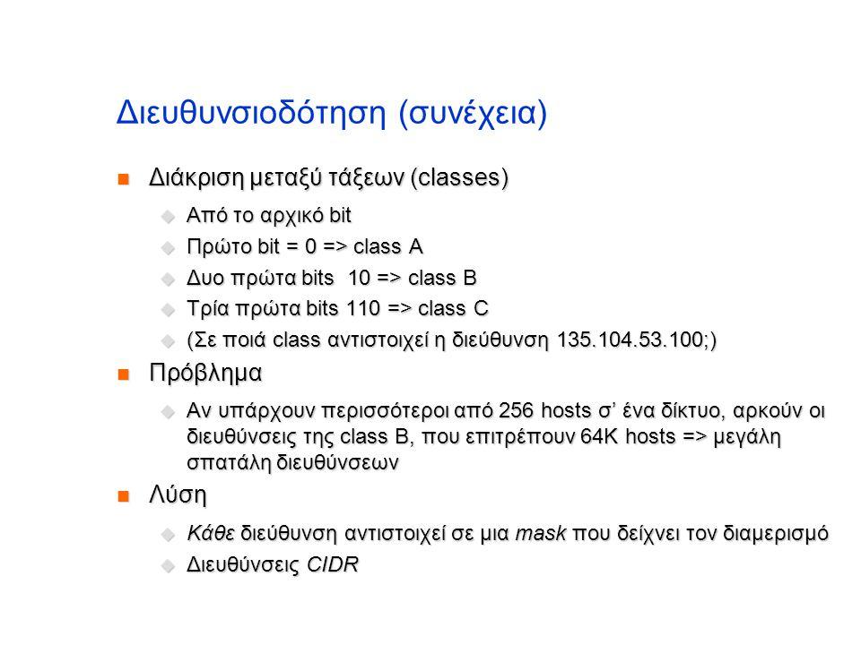 Διευθυνσιοδότηση (συνέχεια)  Διάκριση μεταξύ τάξεων (classes)  Από το αρχικό bit  Πρώτο bit = 0 => class A  Δυο πρώτα bits 10 => class B  Τρία πρ
