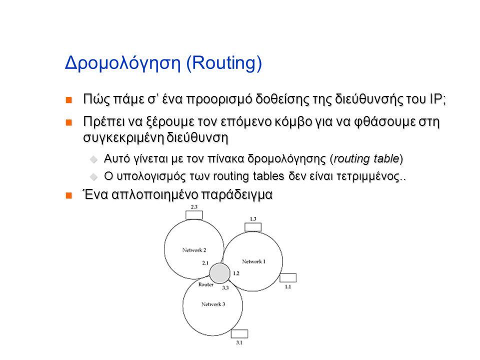 Δρομολόγηση (Routing)  Πώς πάμε σ' ένα προορισμό δοθείσης της διεύθυνσής του IP;  Πρέπει να ξέρουμε τον επόμενο κόμβο για να φθάσουμε στη συγκεκριμέ