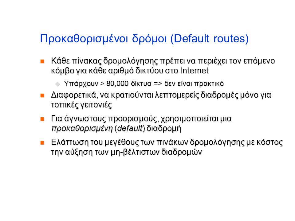 Προκαθορισμένοι δρόμοι (Default routes)  Κάθε πίνακας δρομολόγησης πρέπει να περιέχει τον επόμενο κόμβο για κάθε αριθμό δικτύου στο Internet  Υπάρχο