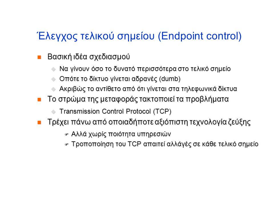 Έλεγχος τελικού σημείου (Endpoint control)  Βασική ιδέα σχεδιασμού  Να γίνουν όσο το δυνατό περισσότερα στο τελικό σημείο  Οπότε το δίκτυο γίνεται