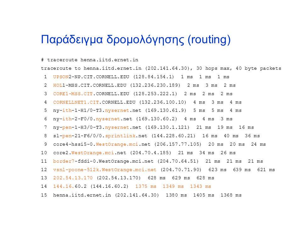 Παράδειγμα δρομολόγησης (routing) # traceroute henna.iitd.ernet.in traceroute to henna.iitd.ernet.in (202.141.64.30), 30 hops max, 40 byte packets 1 U