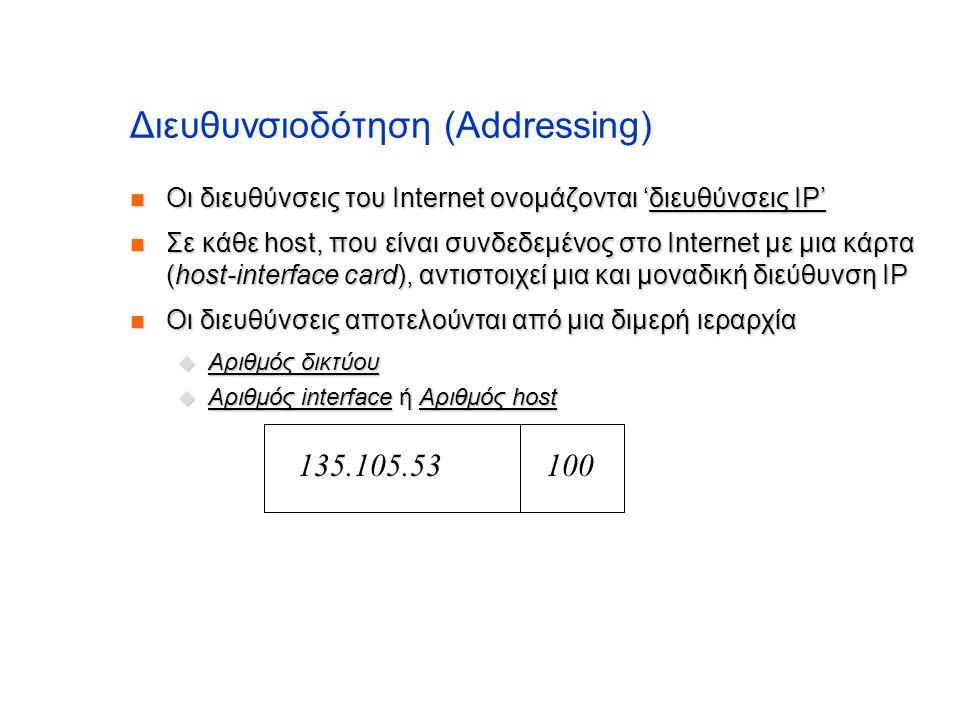 Διευθυνσιοδότηση (Addressing)  Οι διευθύνσεις του Internet ονομάζονται 'διευθύνσεις IP'  Σε κάθε host, που είναι συνδεδεμένος στο Internet με μια κά