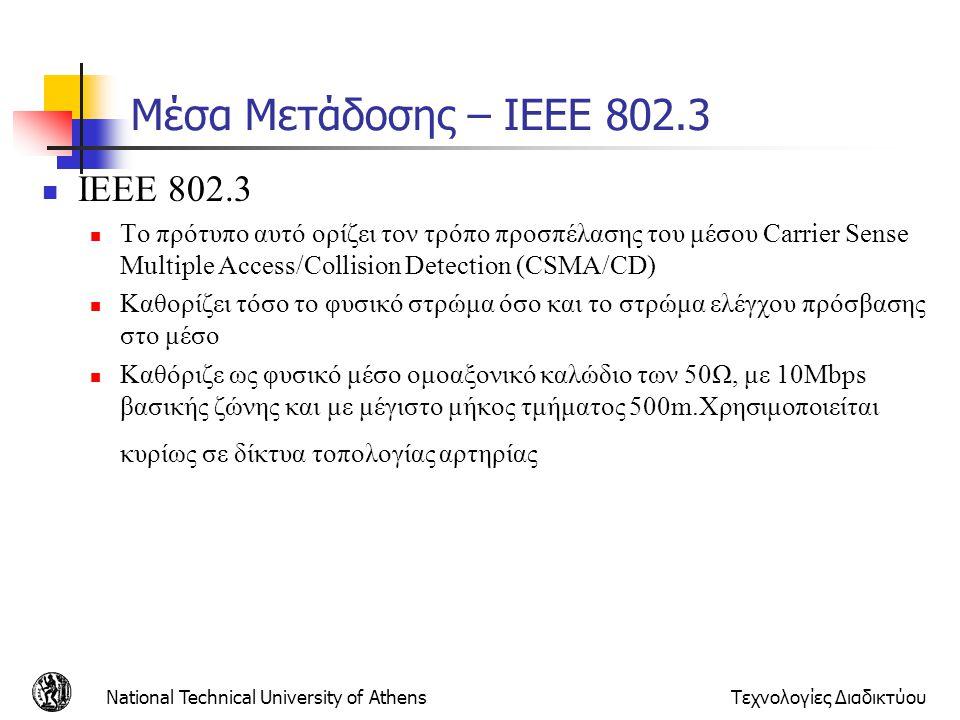 National Technical University of AthensΤεχνολογίες Διαδικτύου Μέσα Μετάδοσης – IEEE 802.3  ΙΕΕΕ 802.3  Το πρότυπο αυτό ορίζει τον τρόπο προσπέλασης
