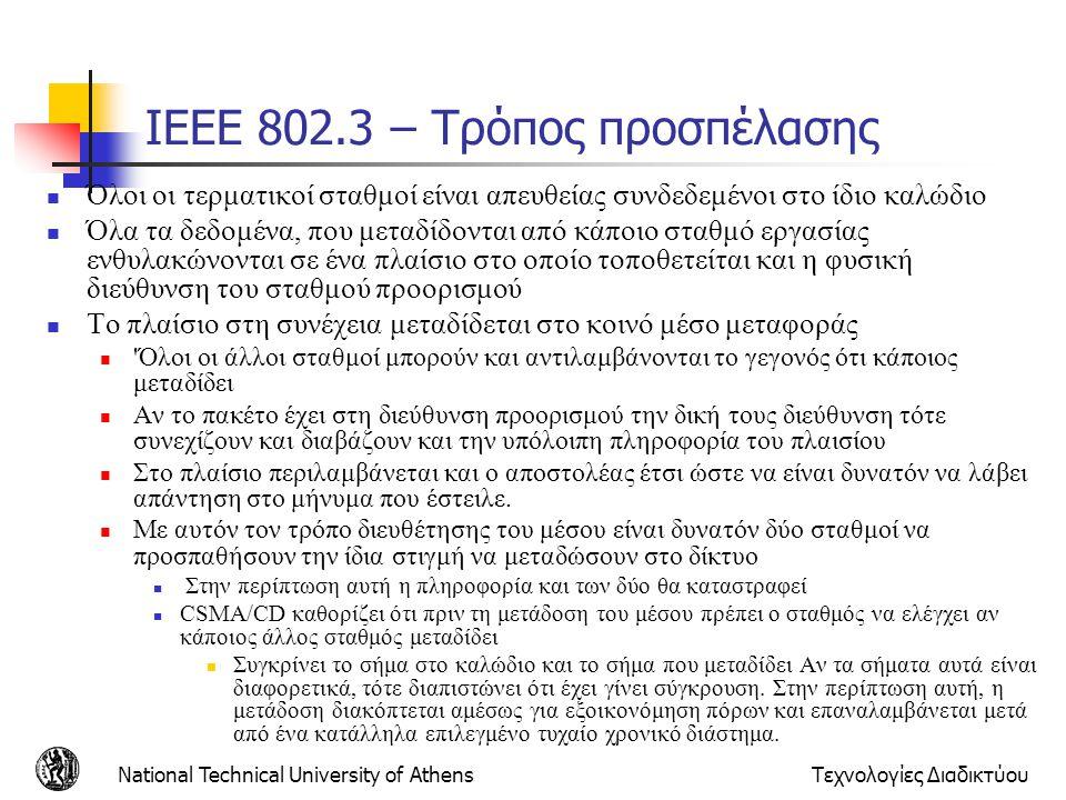 National Technical University of AthensΤεχνολογίες Διαδικτύου IEEE 802.3 – Τρόπος προσπέλασης  Όλοι οι τερματικοί σταθμοί είναι απευθείας συνδεδεμένο