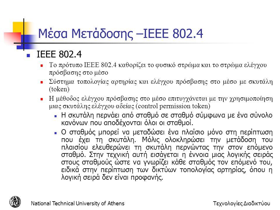 National Technical University of AthensΤεχνολογίες Διαδικτύου Μέσα Μετάδοσης –ΙΕΕΕ 802.4  IEEE 802.4  Τo πρότυπο ΙΕΕΕ 802.4 καθορίζει το φυσικό στρώ