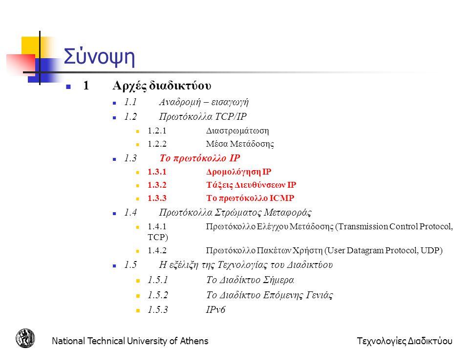 National Technical University of AthensΤεχνολογίες Διαδικτύου Σύνοψη  1Αρχές διαδικτύου  1.1Αναδρομή – εισαγωγή  1.2Πρωτόκολλα TCP/IP  1.2.1Διαστρ