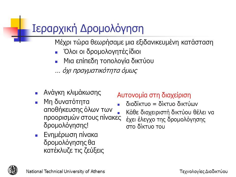 National Technical University of AthensΤεχνολογίες Διαδικτύου Ιεραρχική Δρομολόγηση  Ανάγκη κλιμάκωσης  Μη δυνατότητα αποθήκευσης όλων των προορισμώ