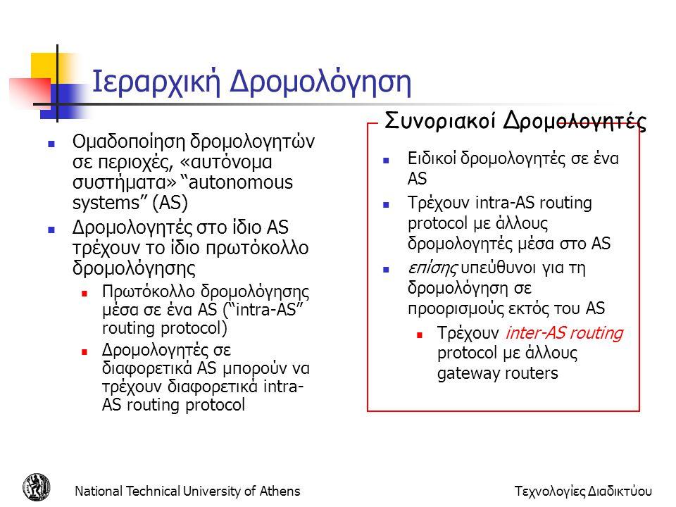 "National Technical University of AthensΤεχνολογίες Διαδικτύου Ιεραρχική Δρομολόγηση  Ομαδοποίηση δρομολογητών σε περιοχές, «αυτόνομα συστήματα» ""auto"