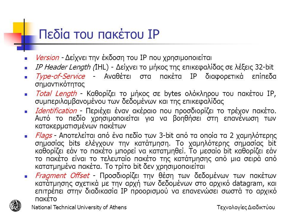 National Technical University of AthensΤεχνολογίες Διαδικτύου Πεδία του πακέτου IP  Version - Δείχνει την έκδοση του IP που χρησιμοποιείται  IP Head