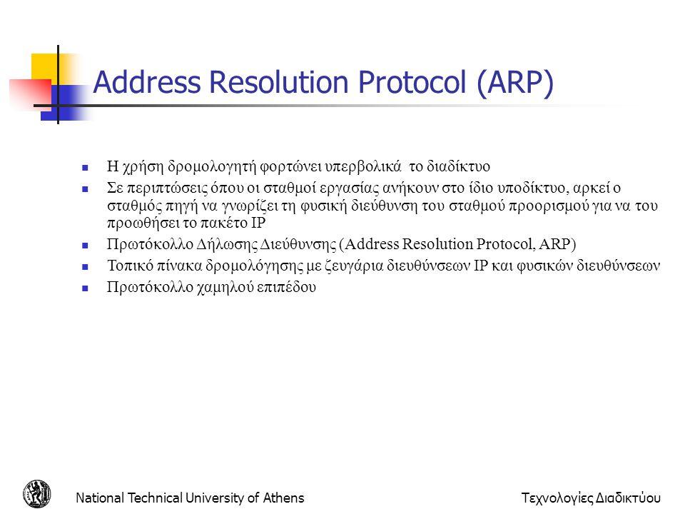 National Technical University of AthensΤεχνολογίες Διαδικτύου Address Resolution Protocol (ARP)  H χρήση δρομολογητή φορτώνει υπερβολικά το διαδίκτυο