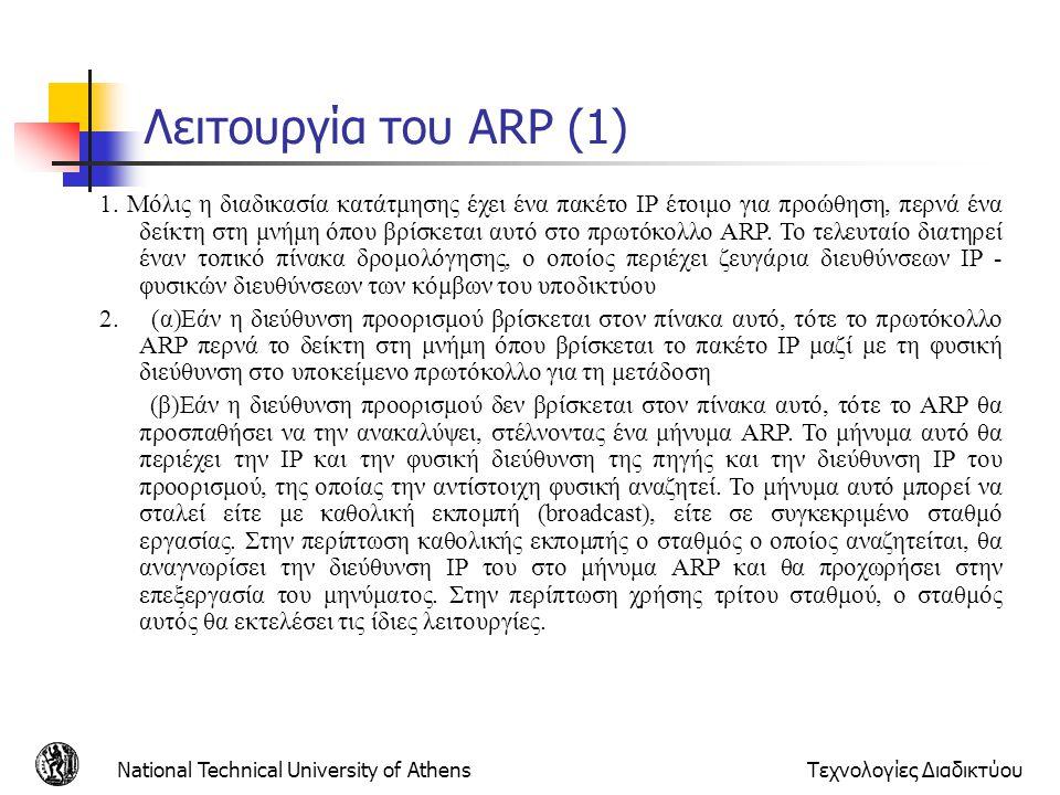 National Technical University of AthensΤεχνολογίες Διαδικτύου Λειτουργία του ARP (1) 1. Μόλις η διαδικασία κατάτμησης έχει ένα πακέτο IP έτοιμο για πρ