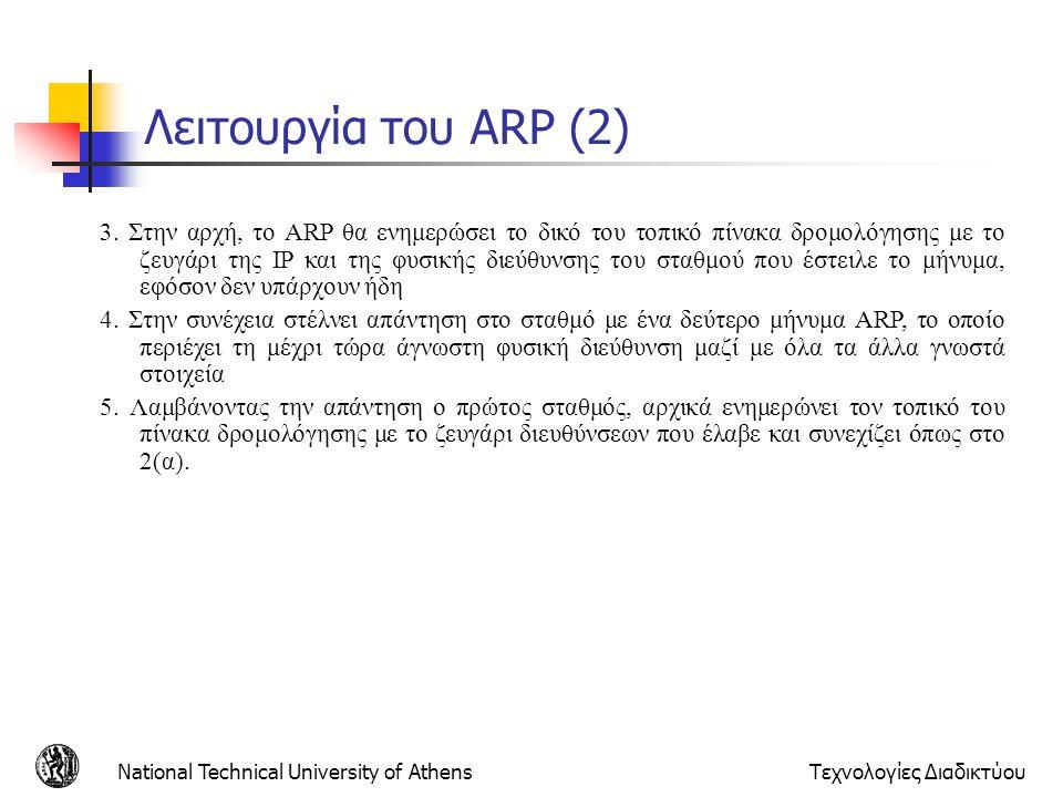 National Technical University of AthensΤεχνολογίες Διαδικτύου Λειτουργία του ARP (2) 3. Στην αρχή, το ARP θα ενημερώσει το δικό του τοπικό πίνακα δρομ