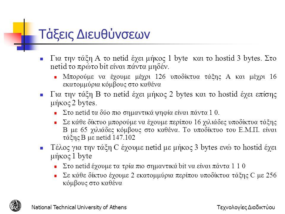 National Technical University of AthensΤεχνολογίες Διαδικτύου Τάξεις Διευθύνσεων  Για την τάξη Α το netid έχει μήκος 1 byte και το hostid 3 bytes. Στ