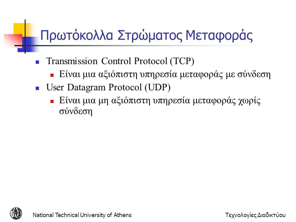 National Technical University of AthensΤεχνολογίες Διαδικτύου Πρωτόκολλα Στρώματος Μεταφοράς  Transmission Control Protocol (TCP)  Eίναι μια αξιόπισ