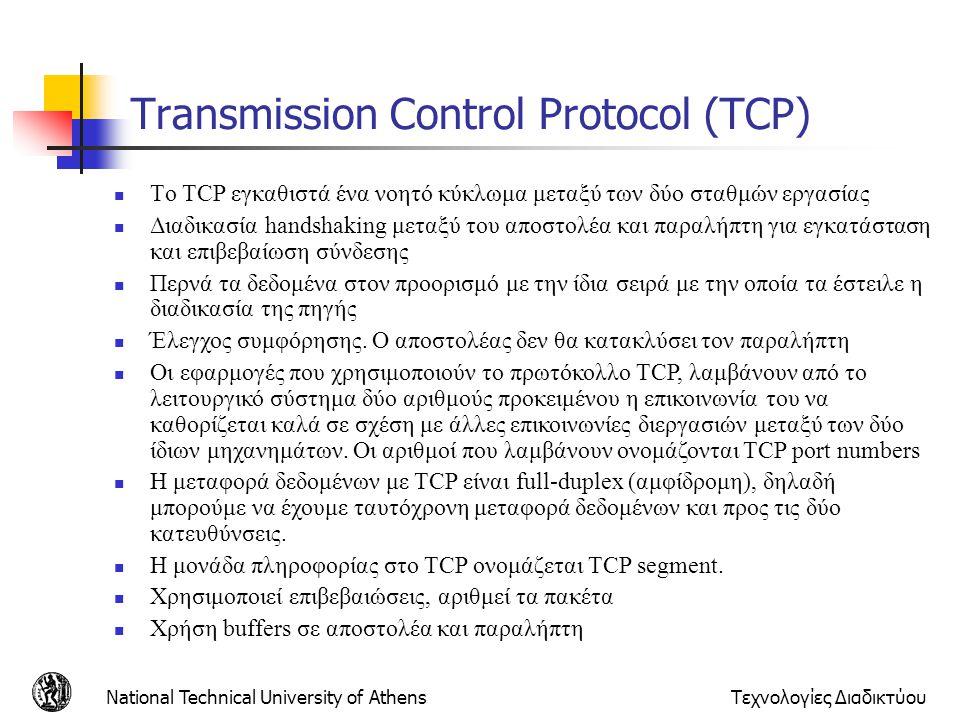 National Technical University of AthensΤεχνολογίες Διαδικτύου Transmission Control Protocol (TCP)  Tο TCP εγκαθιστά ένα νοητό κύκλωμα μεταξύ των δύο