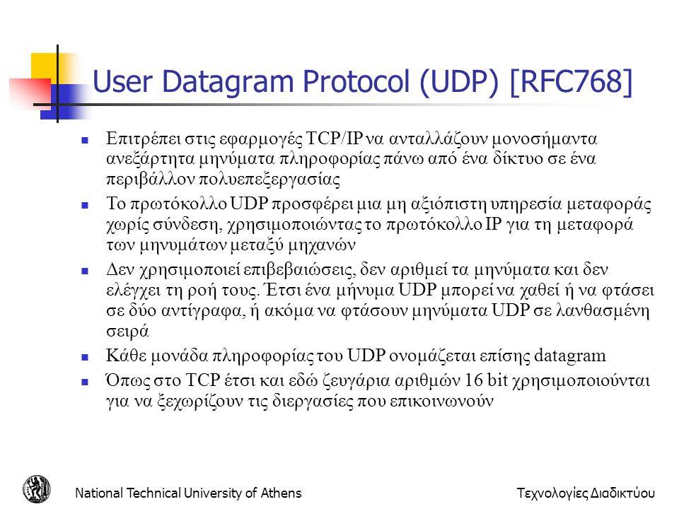 National Technical University of AthensΤεχνολογίες Διαδικτύου User Datagram Protocol (UDP) [RFC768]  Eπιτρέπει στις εφαρμογές TCP/IP να ανταλλάζουν μ