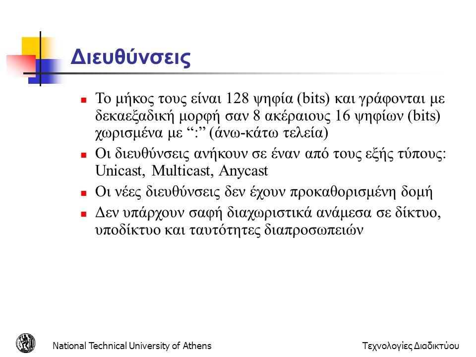 National Technical University of AthensΤεχνολογίες Διαδικτύου Διευθύνσεις  Το μήκος τους είναι 128 ψηφία (bits) και γράφονται με δεκαεξαδική μορφή σα