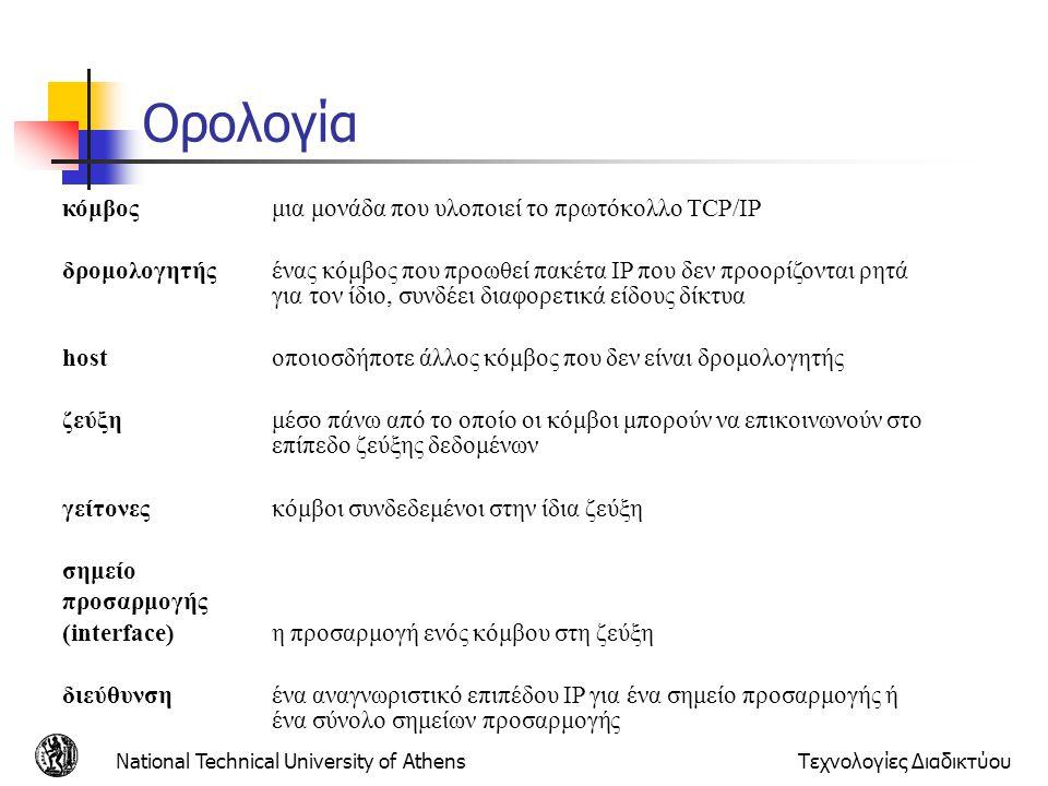 National Technical University of AthensΤεχνολογίες Διαδικτύου Τάξεις Διευθύνσεων  Για την τάξη Α το netid έχει μήκος 1 byte και το hostid 3 bytes.