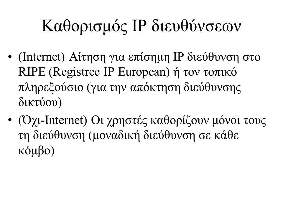 Καθορισμός IP διευθύνσεων •(Internet) Αίτηση για επίσημη IP διεύθυνση στο RIPE (Registree IP European) ή τον τοπικό πληρεξούσιο (για την απόκτηση διεύθυνσης δικτύου) •(Όχι-Internet) Οι χρηστές καθορίζουν μόνοι τους τη διεύθυνση (μοναδική διεύθυνση σε κάθε κόμβο)