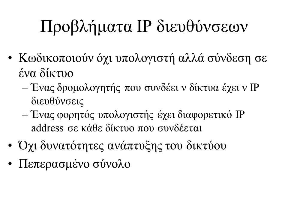 Προβλήματα IP διευθύνσεων •Κωδικοποιούν όχι υπολογιστή αλλά σύνδεση σε ένα δίκτυο –Ένας δρομολογητής που συνδέει ν δίκτυα έχει ν IP διευθύνσεις –Ένας φορητός υπολογιστής έχει διαφορετικό IP address σε κάθε δίκτυο που συνδέεται •Όχι δυνατότητες ανάπτυξης του δικτύου •Πεπερασμένο σύνολο
