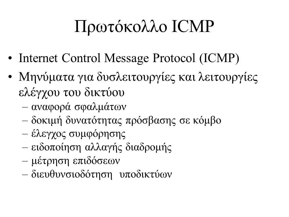 Πρωτόκολλο ICMP •Internet Control Message Protocol (ICMP) •Μηνύματα για δυσλειτουργίες και λειτουργίες ελέγχου του δικτύου –αναφορά σφαλμάτων –δοκιμή δυνατότητας πρόσβασης σε κόμβο –έλεγχος συμφόρησης –ειδοποίηση αλλαγής διαδρομής –μέτρηση επιδόσεων –διευθυνσιοδότηση υποδικτύων